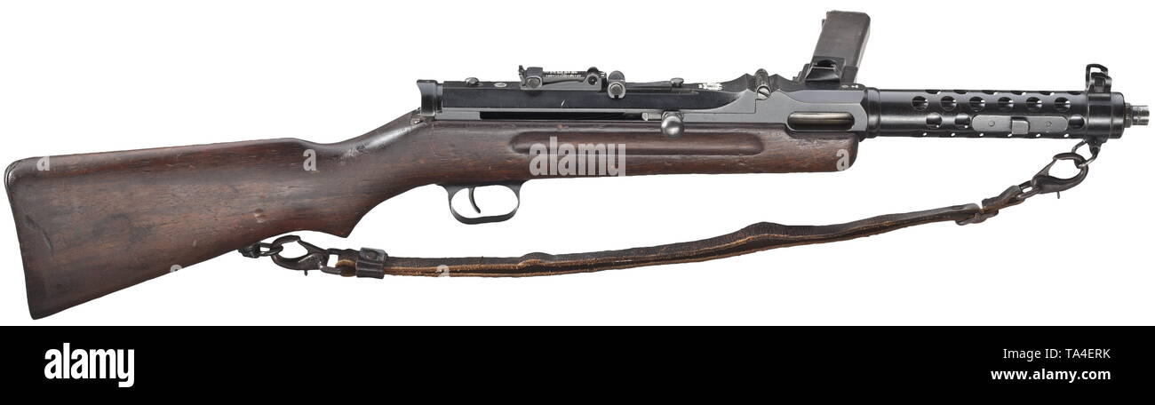 SERVICE WEAPONS, GERMANY UNTIL 1945, MP 34(ö) submachine gun, Steyr-Solothurn, DEKO calibre 9 mm para, number 1384, Editorial-Use-Only - Stock Image