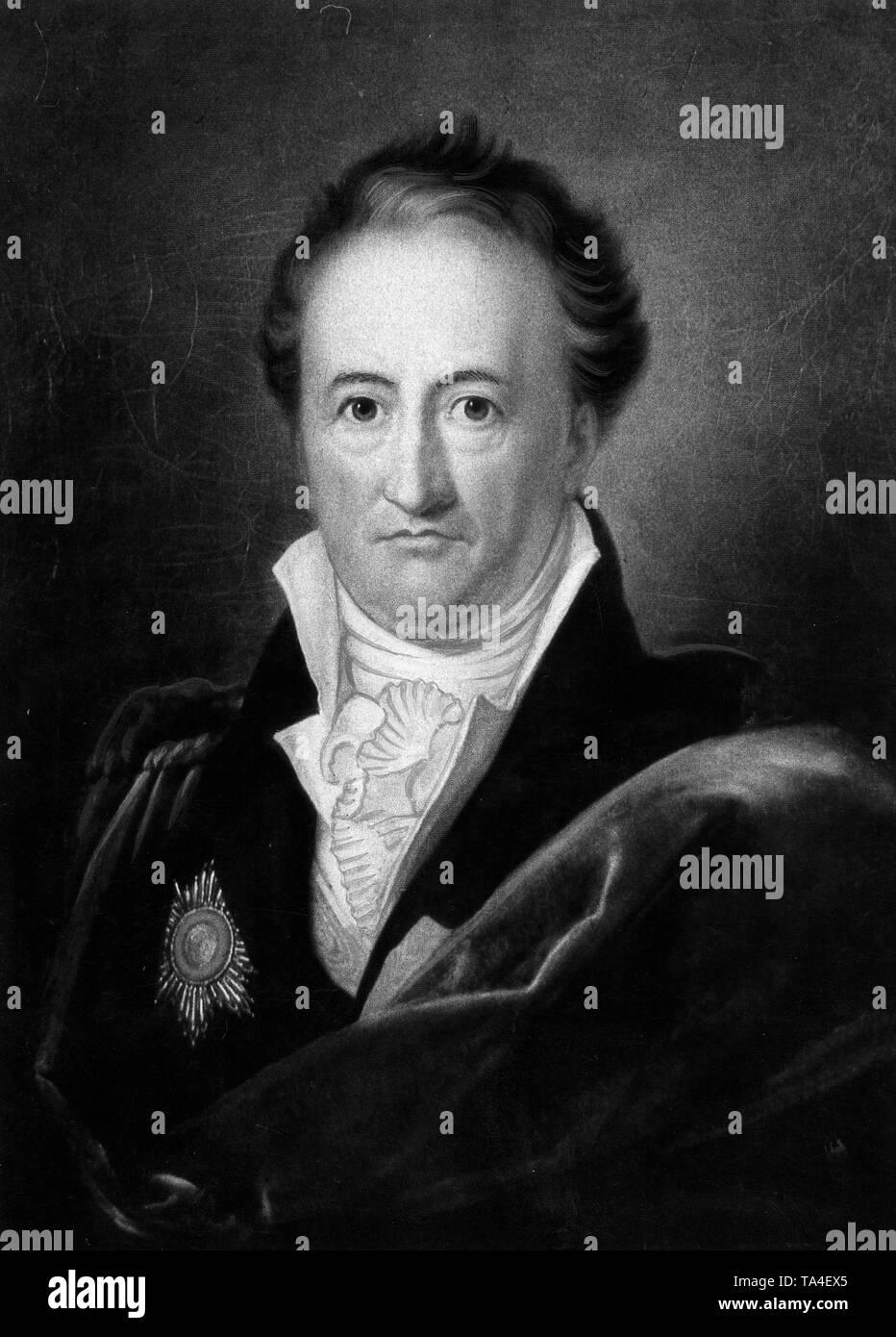 Portrait Of German Writer Johann Wolfgang Von Goethe 1810