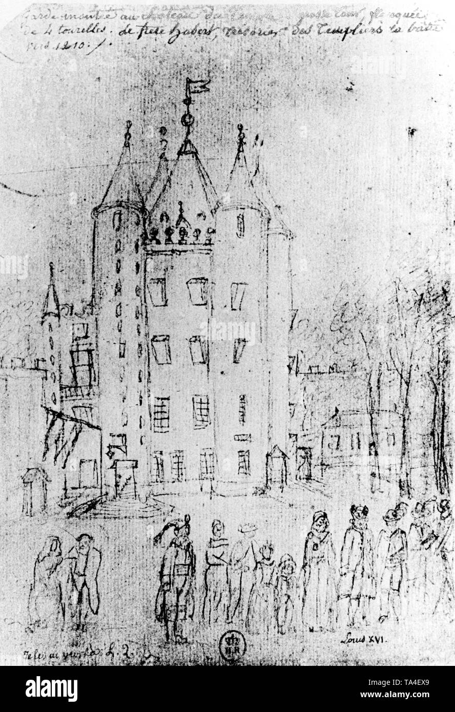 Sketch of the tower named 'Temple', part of the 12th-century Templar monastery, that becomes the prison of King Louis XVI and his family at the time of the French Revolution. - Stock Image