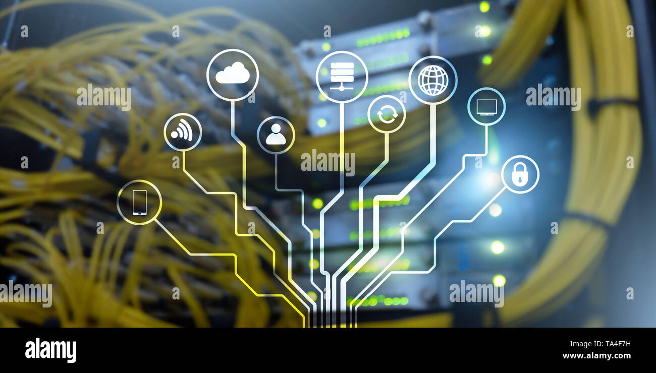 IOT. Internet of Things. Information Communication Network. Artificial Intelligence. Website banner.Datacenter background - Stock Image