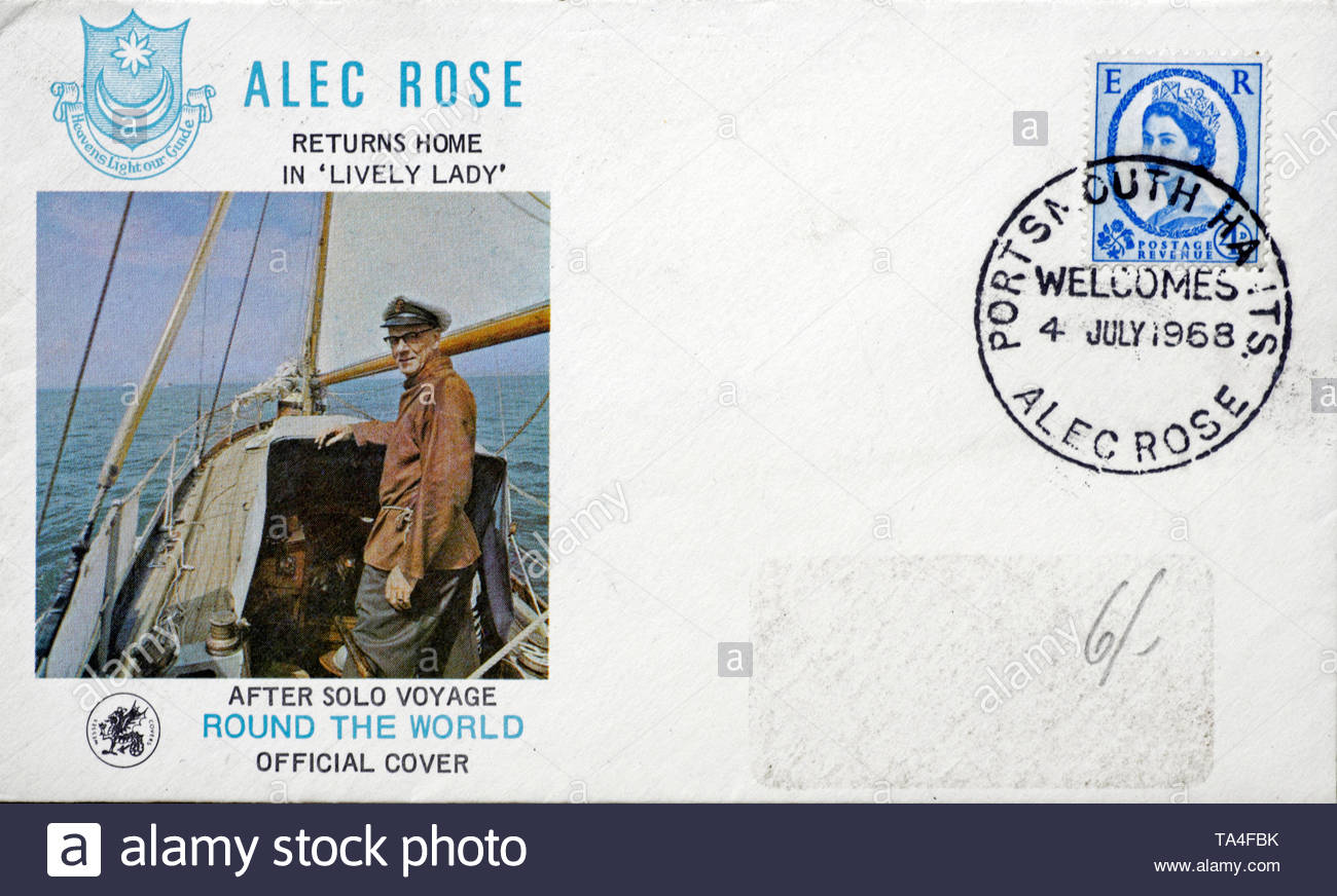 Post Office First Day Cover 1968, Alec Rose Solo voyage around the world in Lively Lady - Stock Image