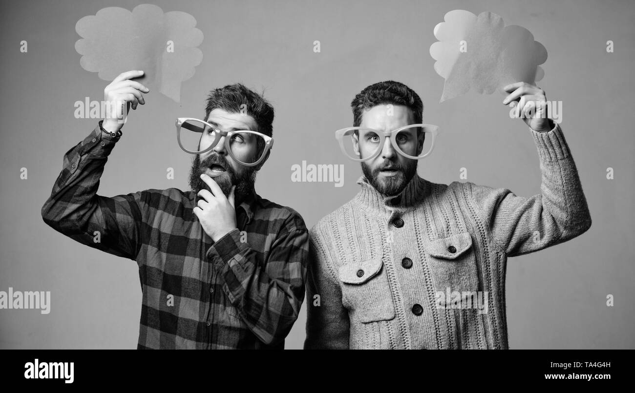 Share opinion speech bubble copy space. Comic and humor sense. Men with beard and mustache mature hipster wear funny eyeglasses. Explain humor concept. Funny story and humor. Comic idea. Men joking. - Stock Image