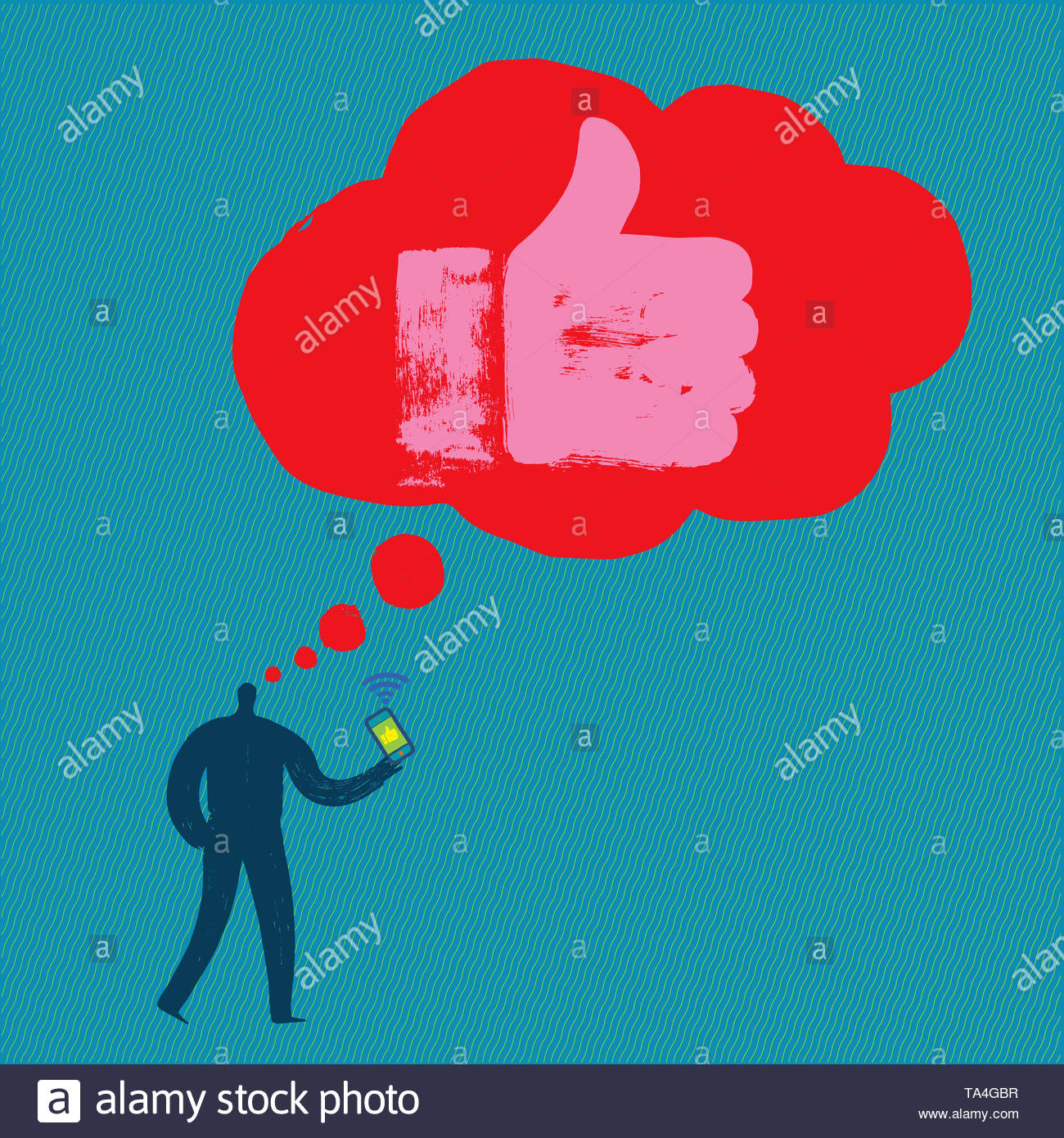 Man with Smartphone thinks about Liking, Hand Like, Illustration, Influencer, Facebook, Liking Online, Social Media, User, Online Profile, Millennial - Stock Image