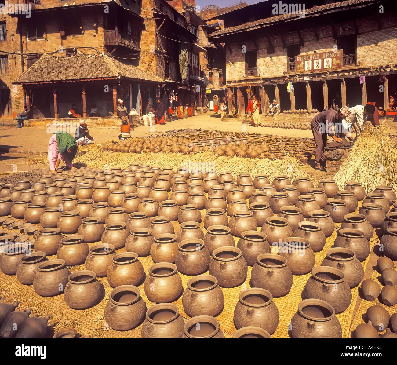Pottery, Potterry Square, Bhaktapur, Nepal, Asia - Stock Image