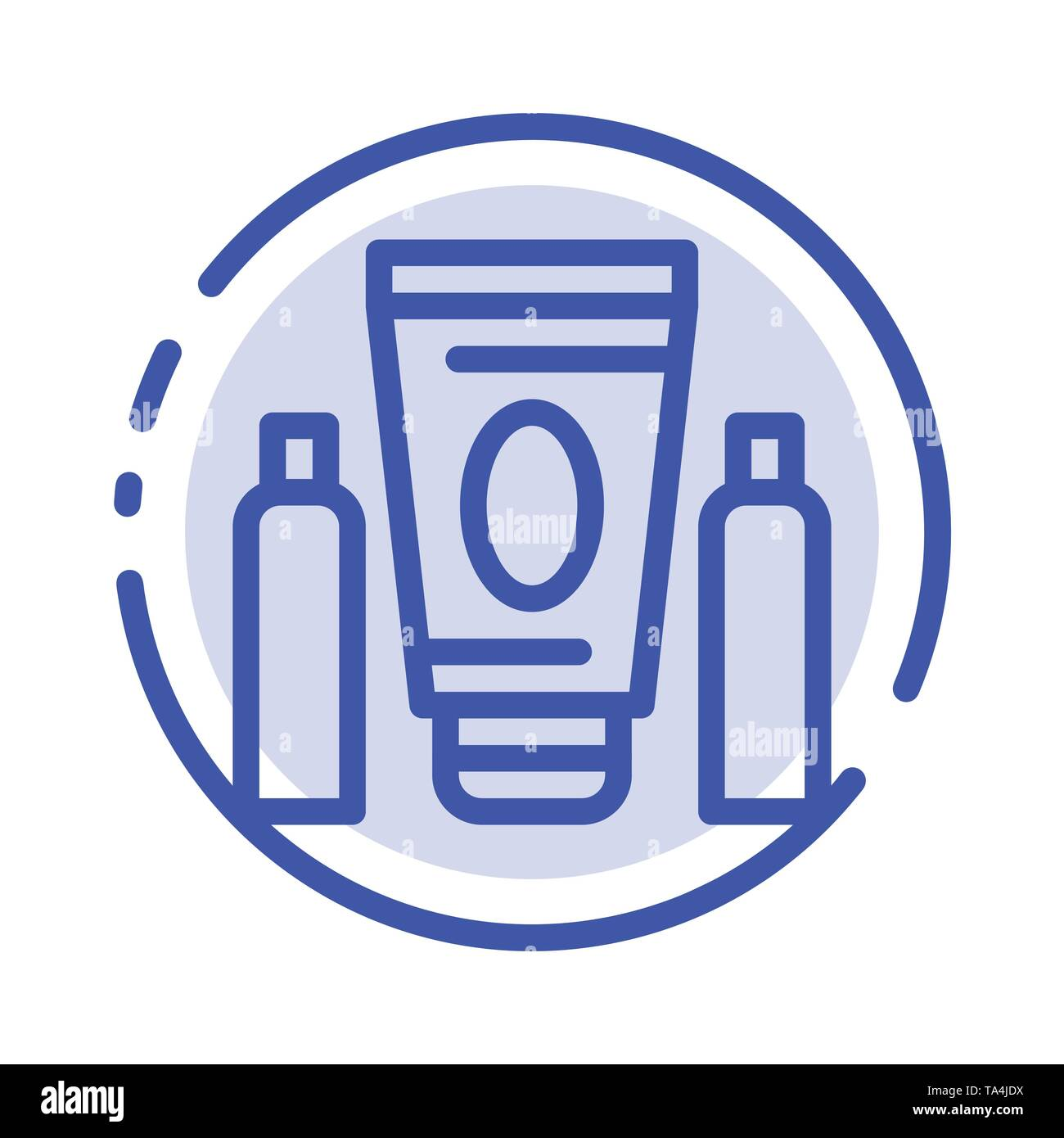 Sport, Cream, Medical, Healthcare Blue Dotted Line Line Icon - Stock Image
