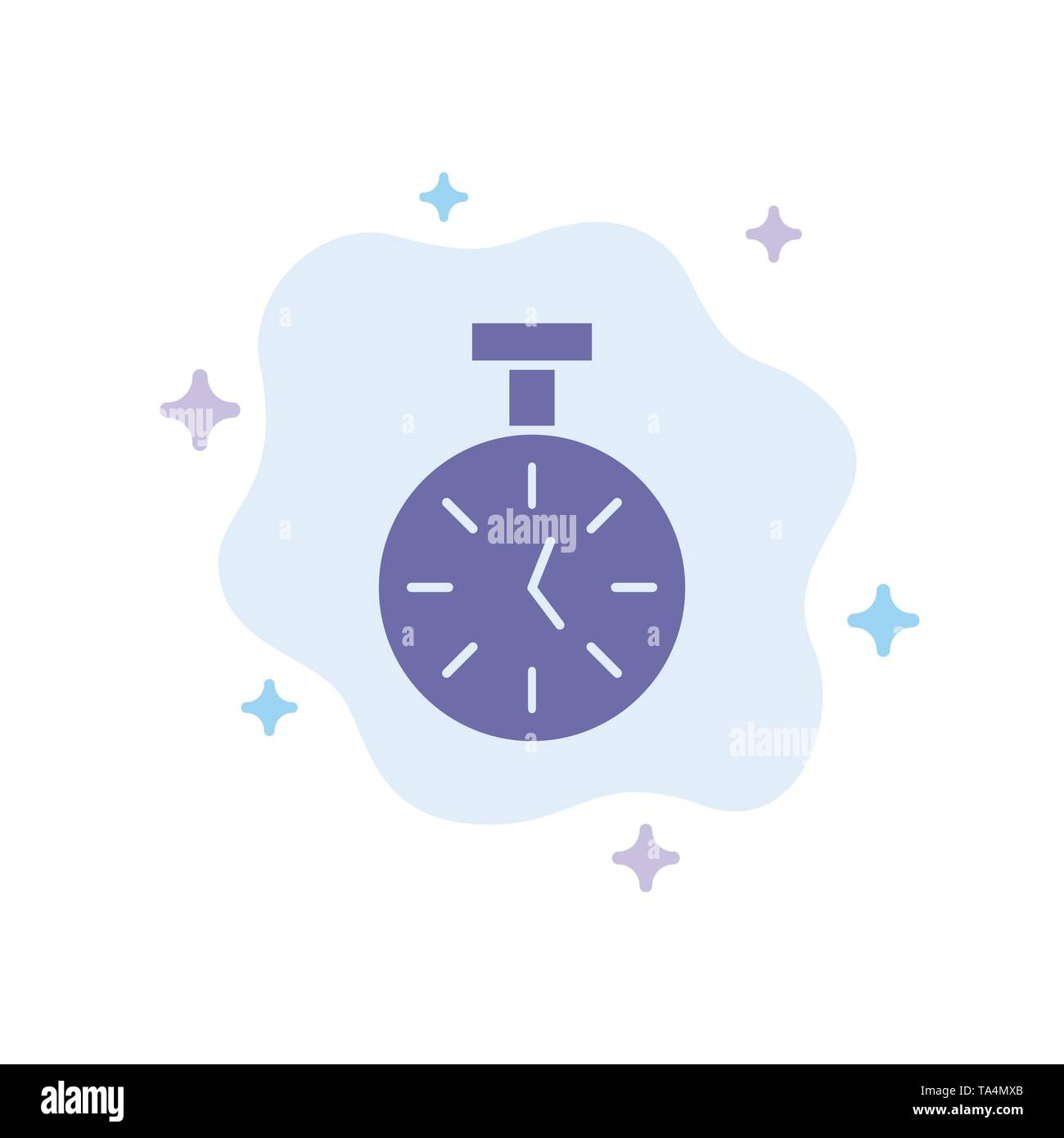 Stopwatch, Time, Timer, Count Blue Icon on Abstract Cloud Background - Stock Image