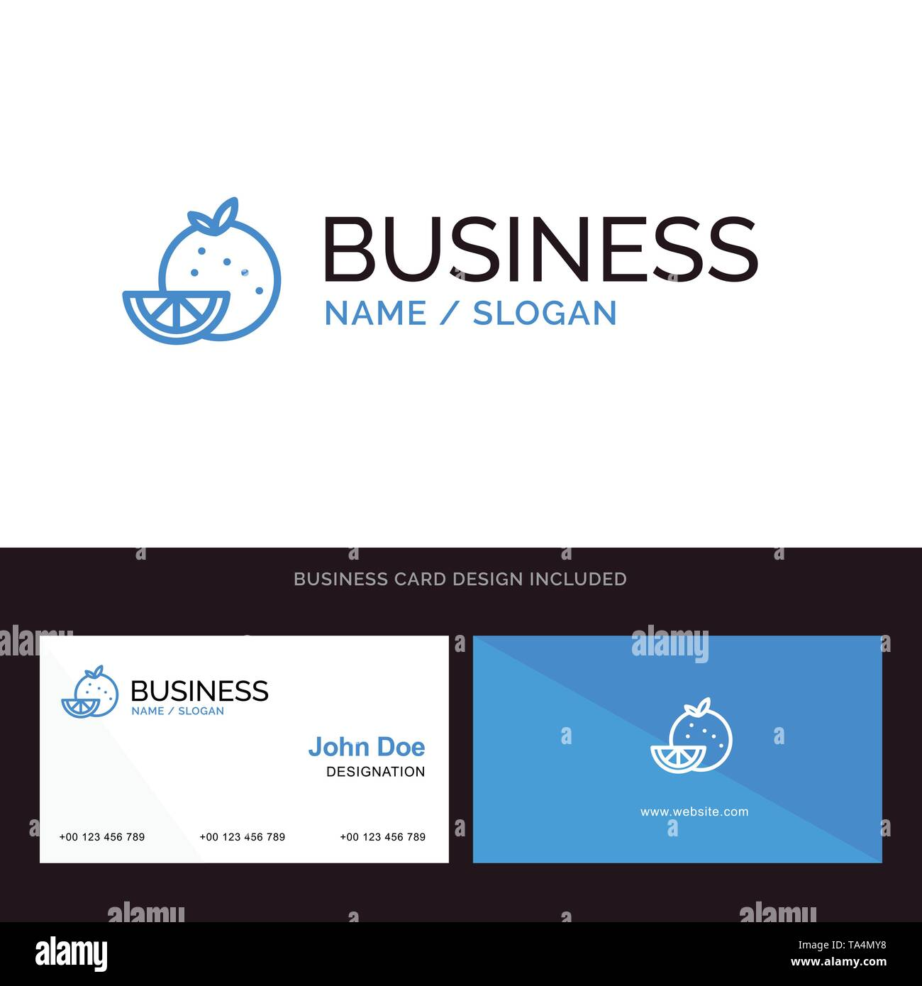 Orange, Food, Fruit, Madrigal Blue Business logo and Business Card Template. Front and Back Design - Stock Image