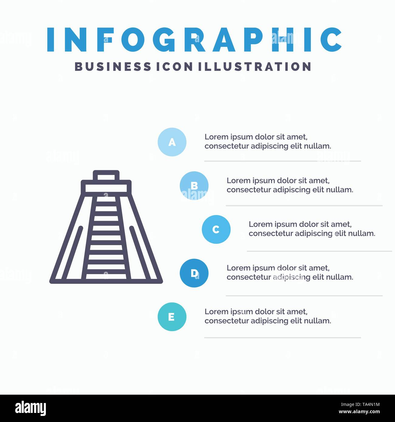 Chichen Itza, Landmark, Monument Blue Infographics Template 5 Steps. Vector Line Icon template - Stock Image