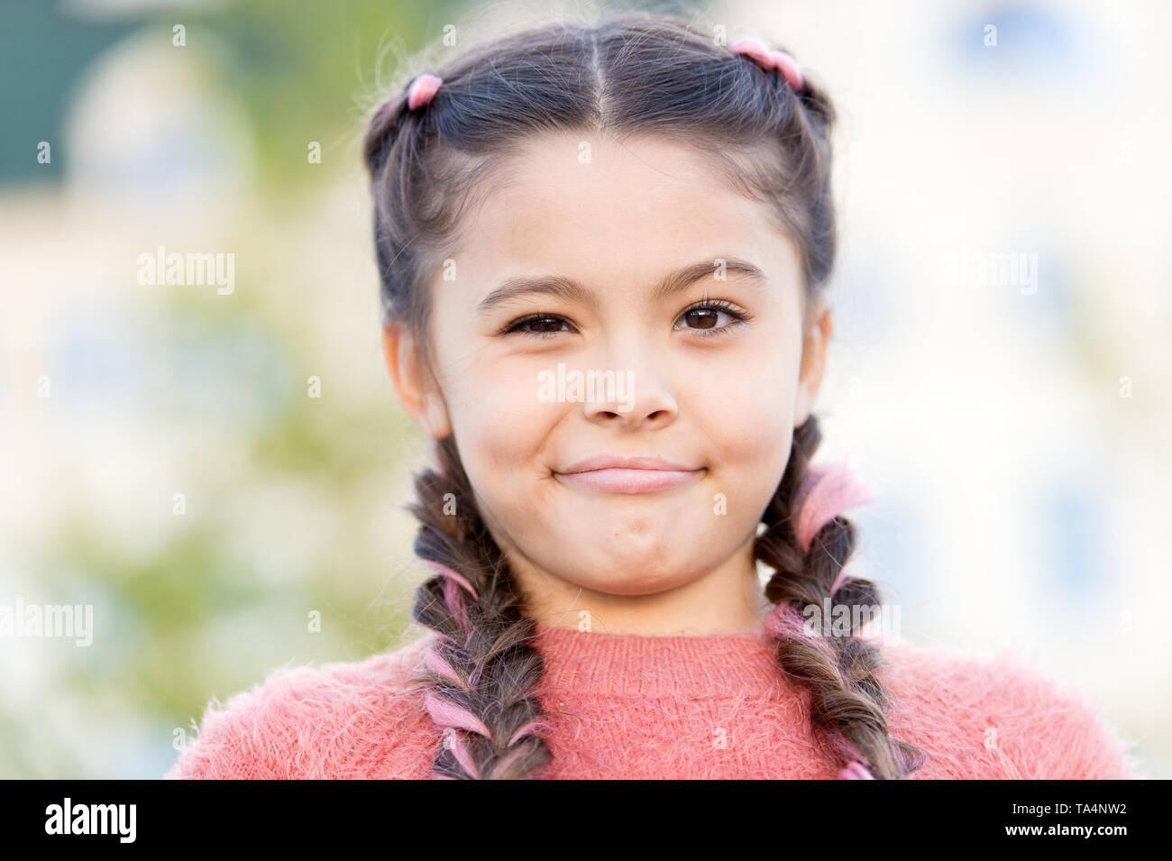 Have some doubts. Sincere emotional kid. Girl emotional face. Thoughts and doubts concept. Kid doubtful beautiful face. Emotions concept. Thoughtful girl hesitating making decision. Having fun. - Stock Image