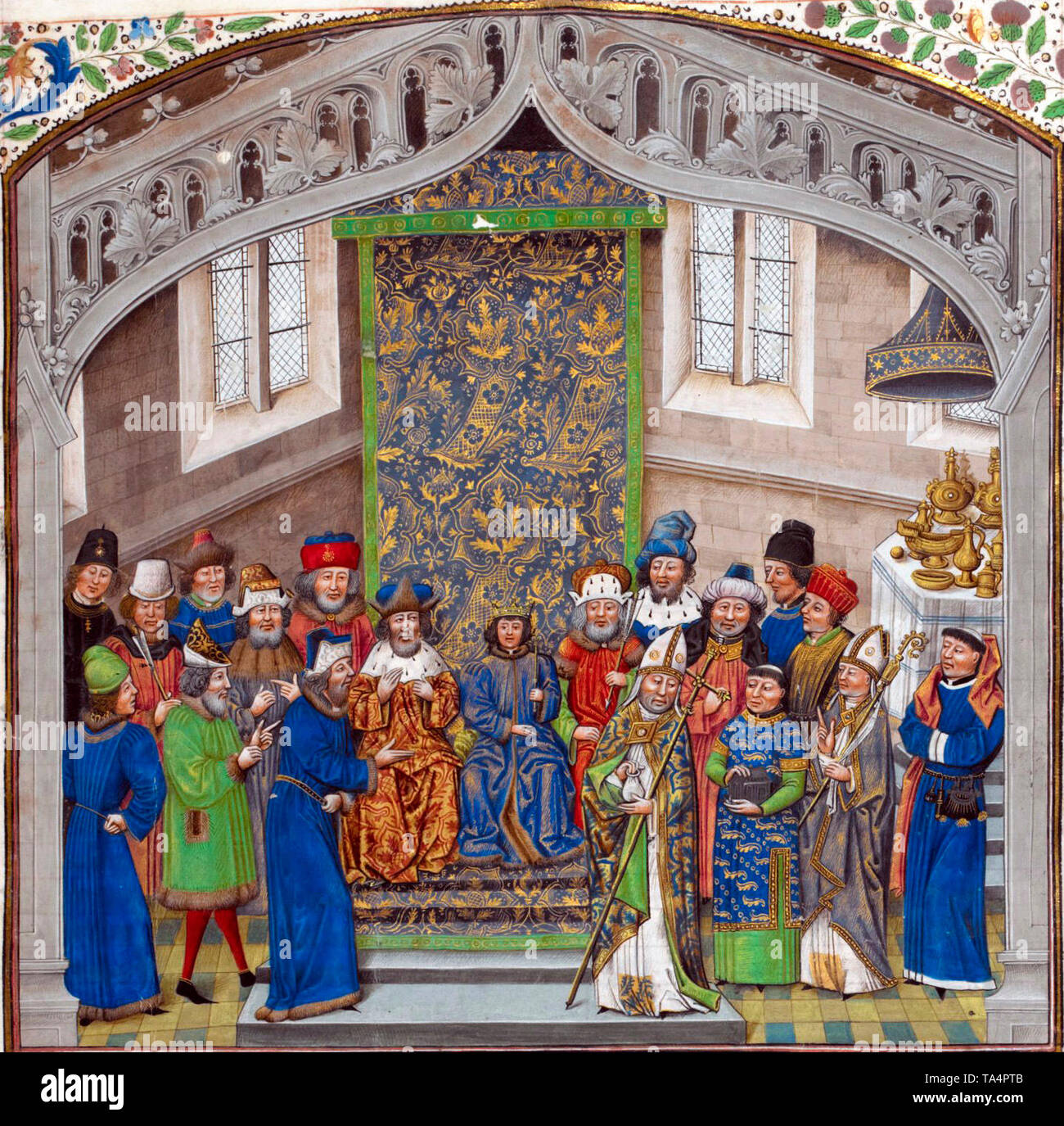 King Richard II of England with his court after his coronation. 15th century - Stock Image