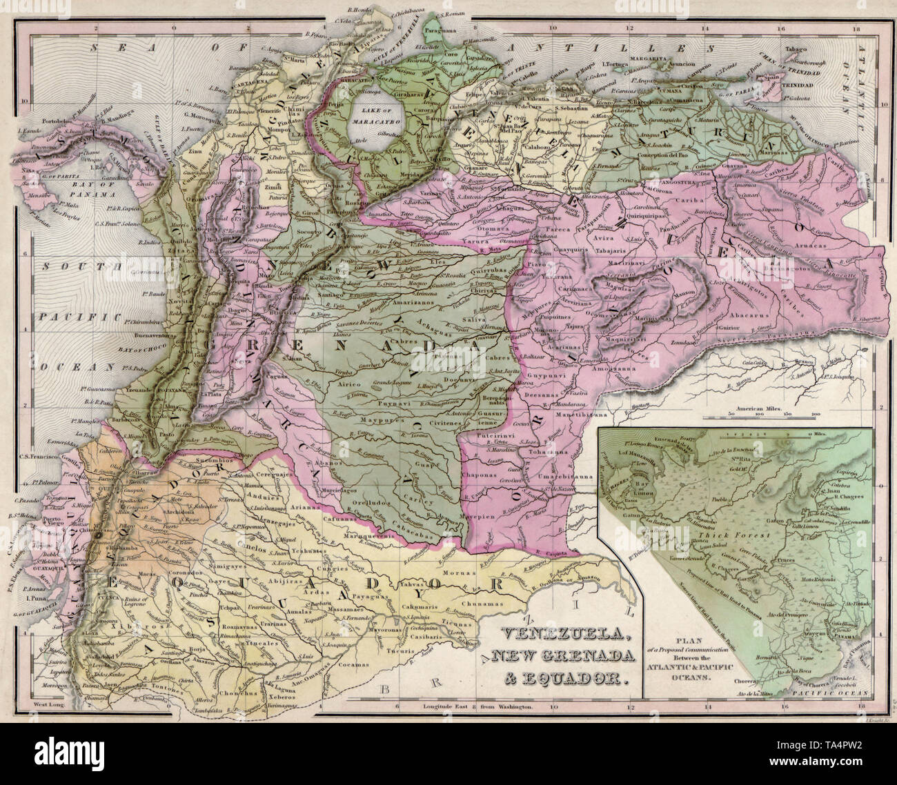 Map of Venezuela, New Granada, and Ecuador, 1844 Stock Photo