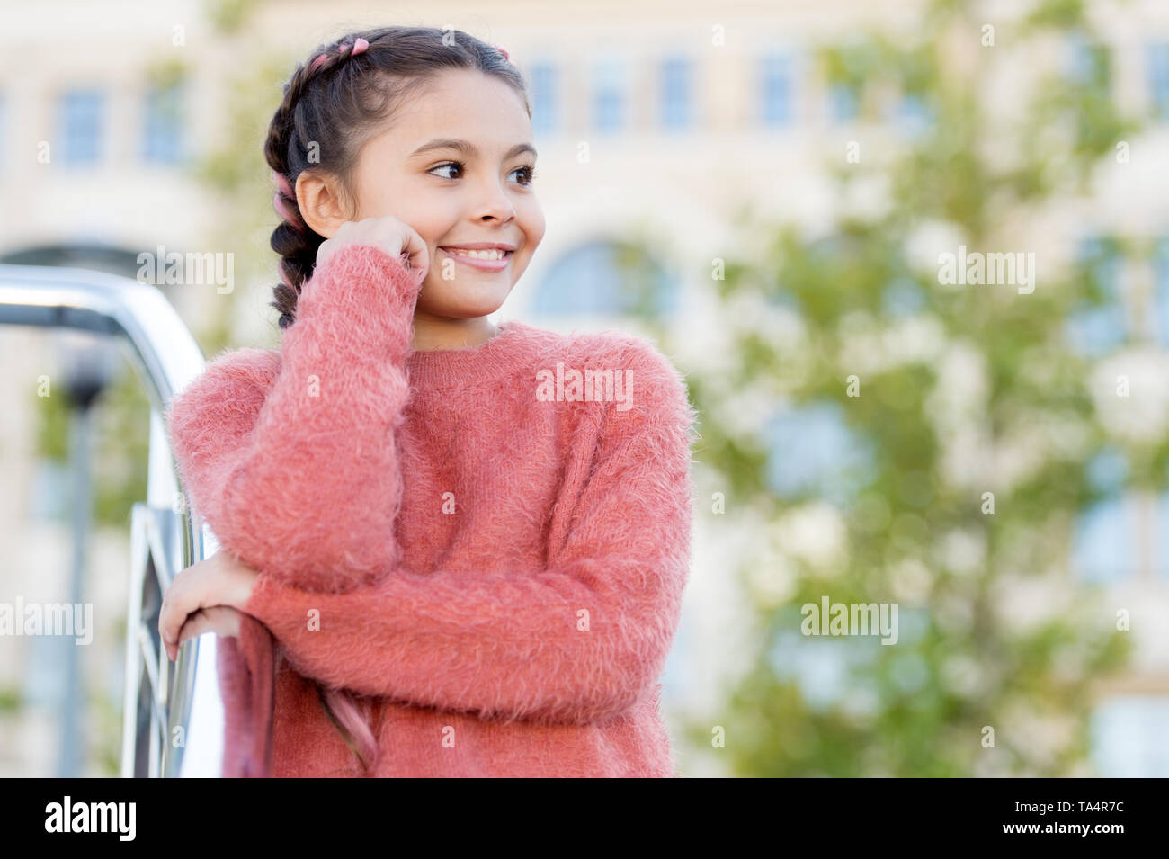 Vacation and leisure. Weekend events for kids. Entertainment for children. Leisure fun ideas. Event overview. Leisure options. Free time and leisure. Girl urban background. Activities for teenagers. - Stock Image