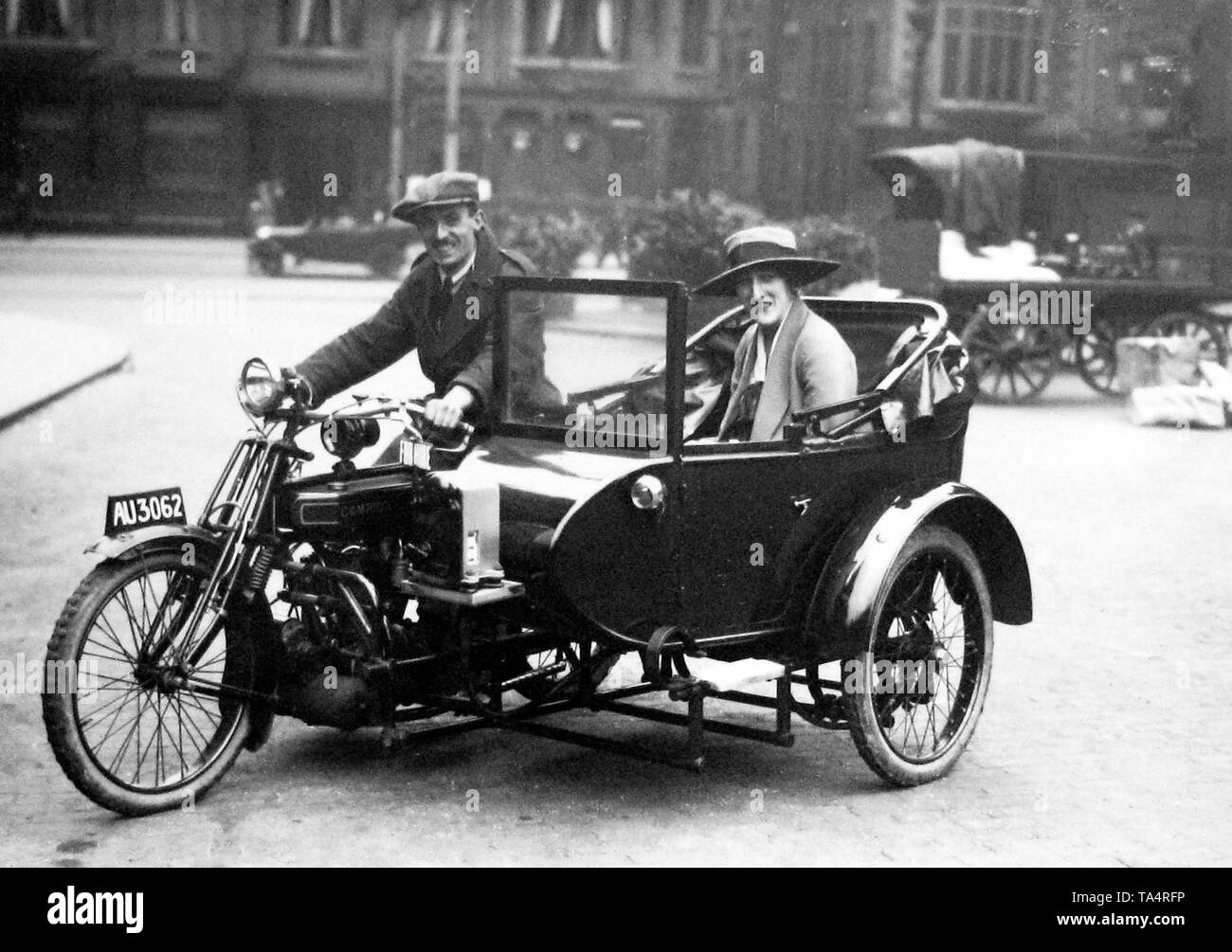 Campion motorbike taxi in Trinity Square Nottingham in 1927 - Stock Image