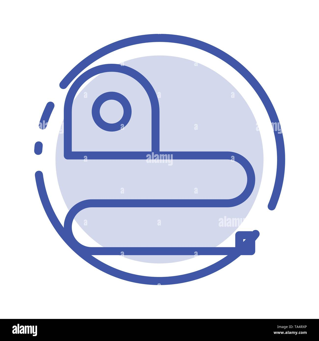 Construction, Measuring, Scale, Tape Blue Dotted Line Line Icon - Stock Image