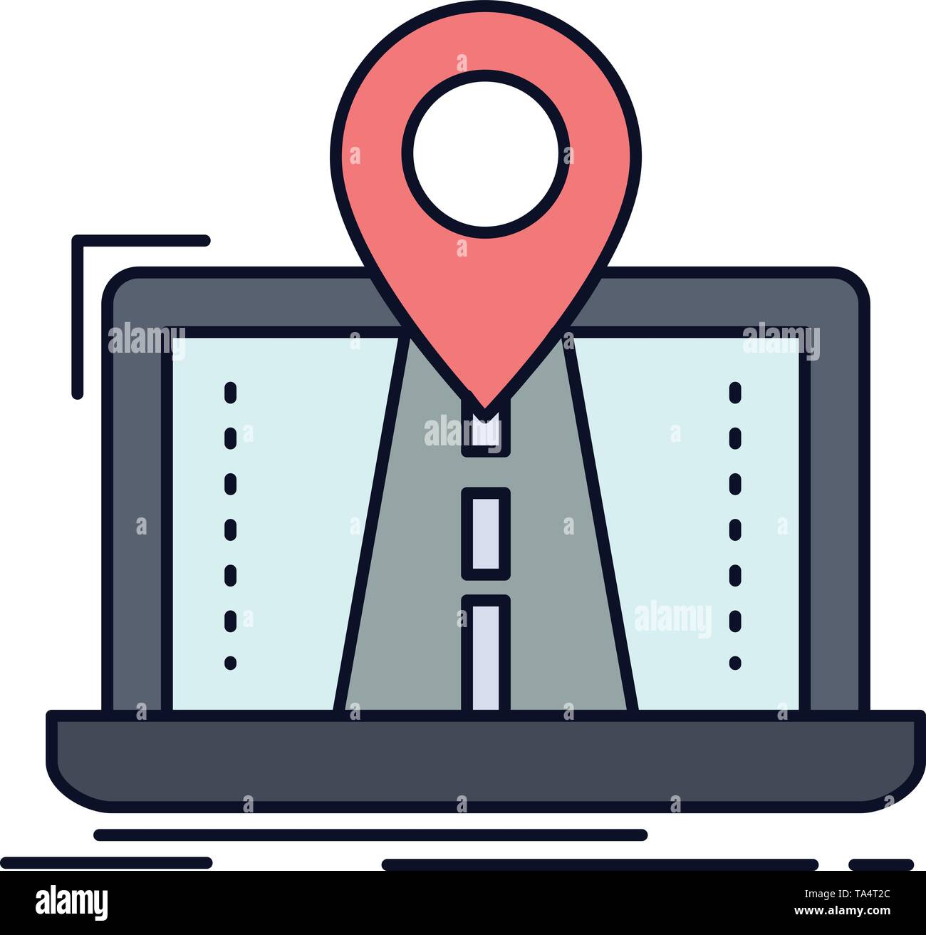 Navigation, Map, System, GPS, Route Flat Color Icon Vector - Stock Vector