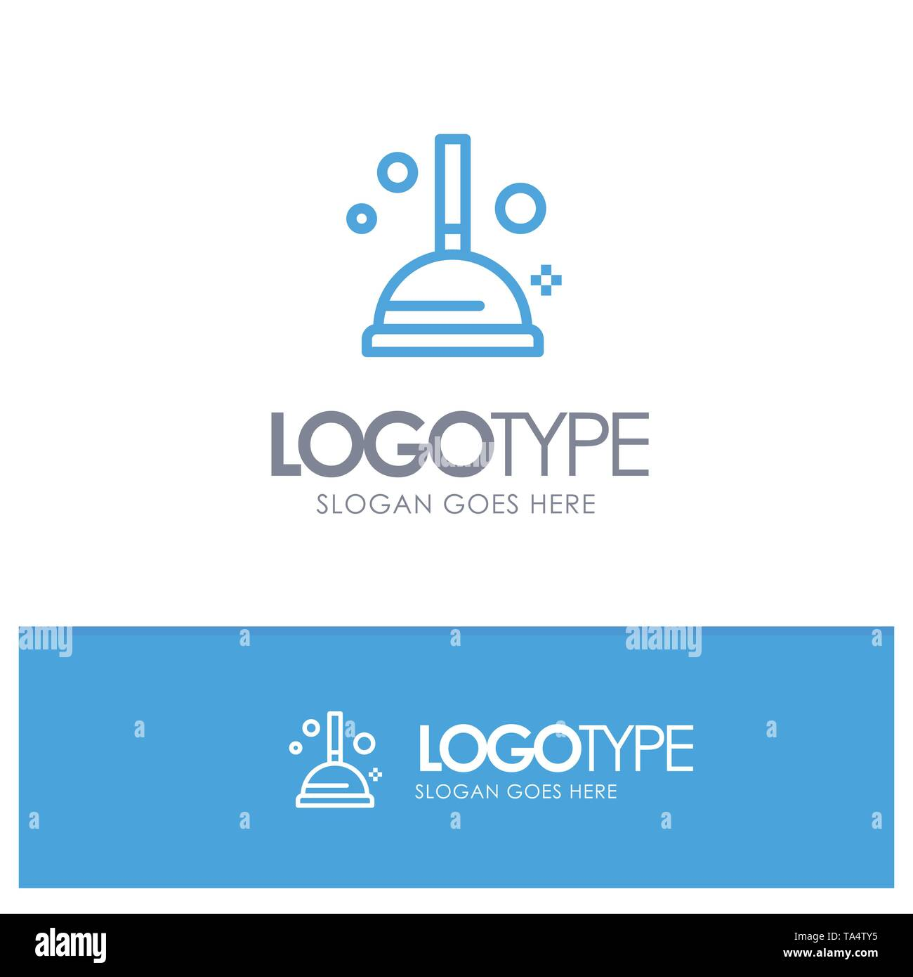 Cleaning, Improvement, Plunger Blue outLine Logo with place for tagline - Stock Image