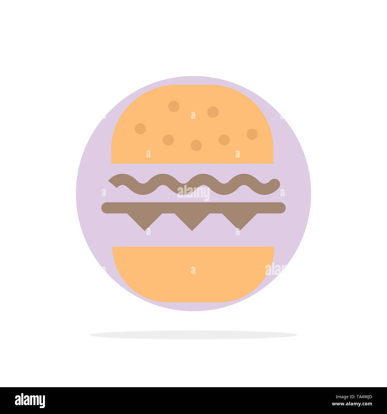 Burger, Food, Eat, Canada Abstract Circle Background Flat color Icon - Stock Image