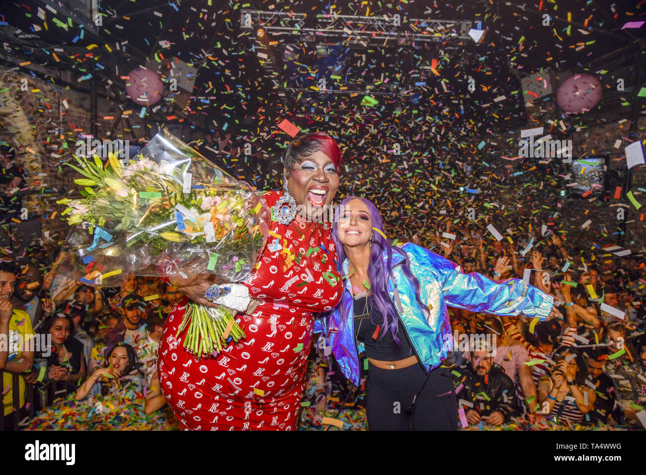 Tulisa launches her new single 'Daddy' at G-A-Y tonight. In a 30-minute set packed with hits and an NDUBZ medley, Tulisa was also joined by 'RuPaul's Drag Race' star Latrice Royale who had performed earlier that evening.  Featuring: Tulisa, Latrice Royale Where: London, United Kingdom When: 21 Apr 2019 Credit: Chris Jepson/WENN.com - Stock Image
