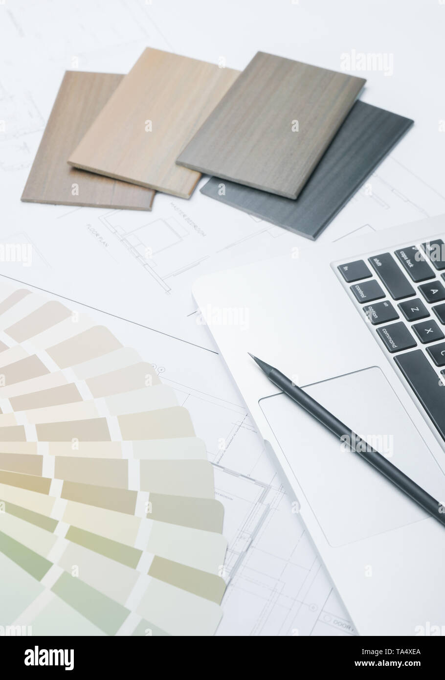 color and material samples on architectural drawings of the modern house - Stock Image