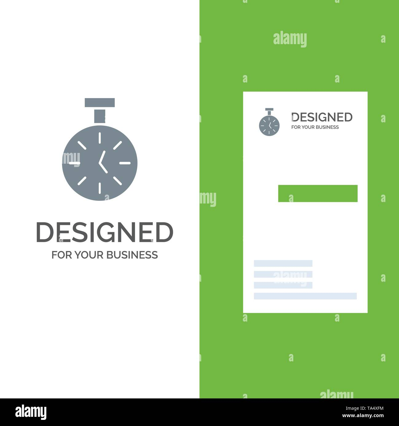 Stopwatch, Time, Timer, Count Grey Logo Design and Business Card Template - Stock Image