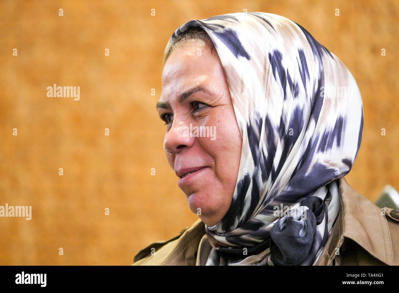 Latifa Ibn Ziaten, founder of IMAD association for Youth and Peace, portrayed in Lyon, France Stock Photo