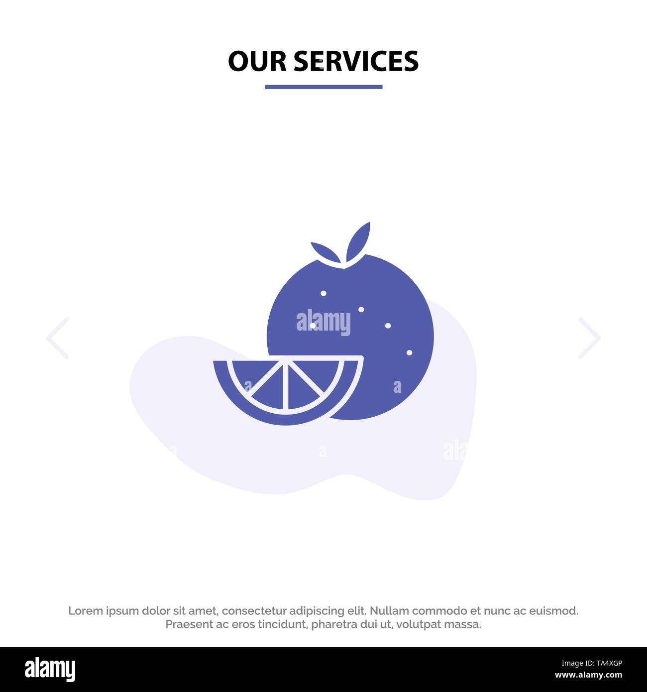 Our Services Orange, Food, Fruit, Madrigal Solid Glyph Icon Web card Template - Stock Image