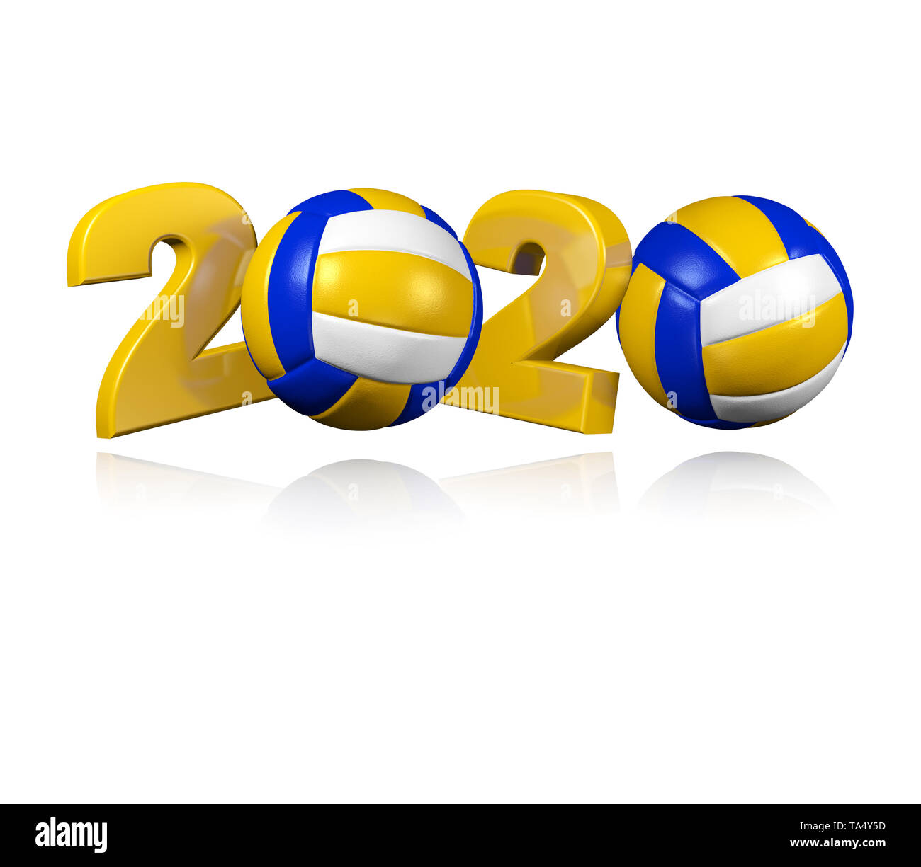 Beach Volleyball 2020 Design with a White Background Stock ...