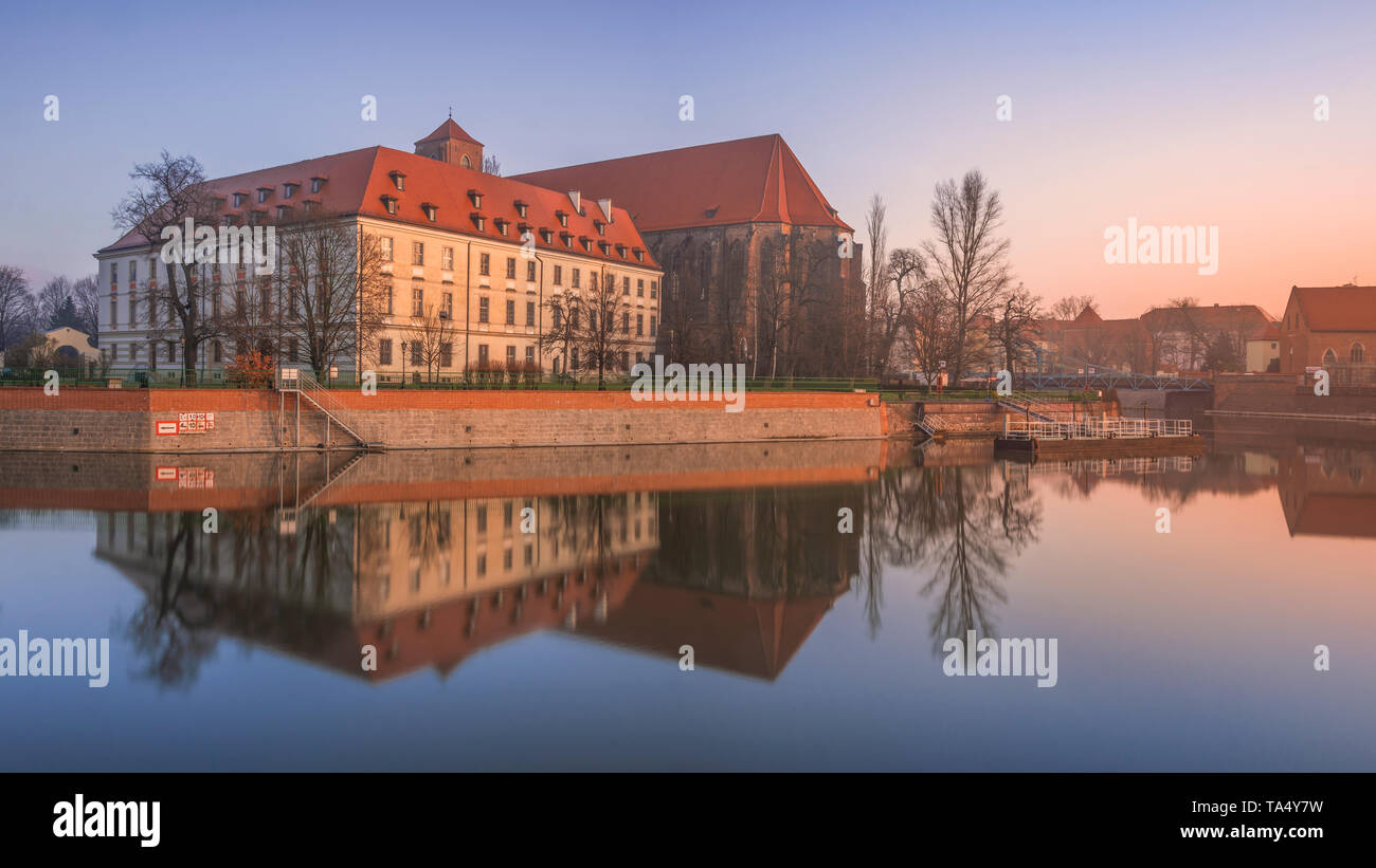Riverscape, Wroclaw. Stock Photo