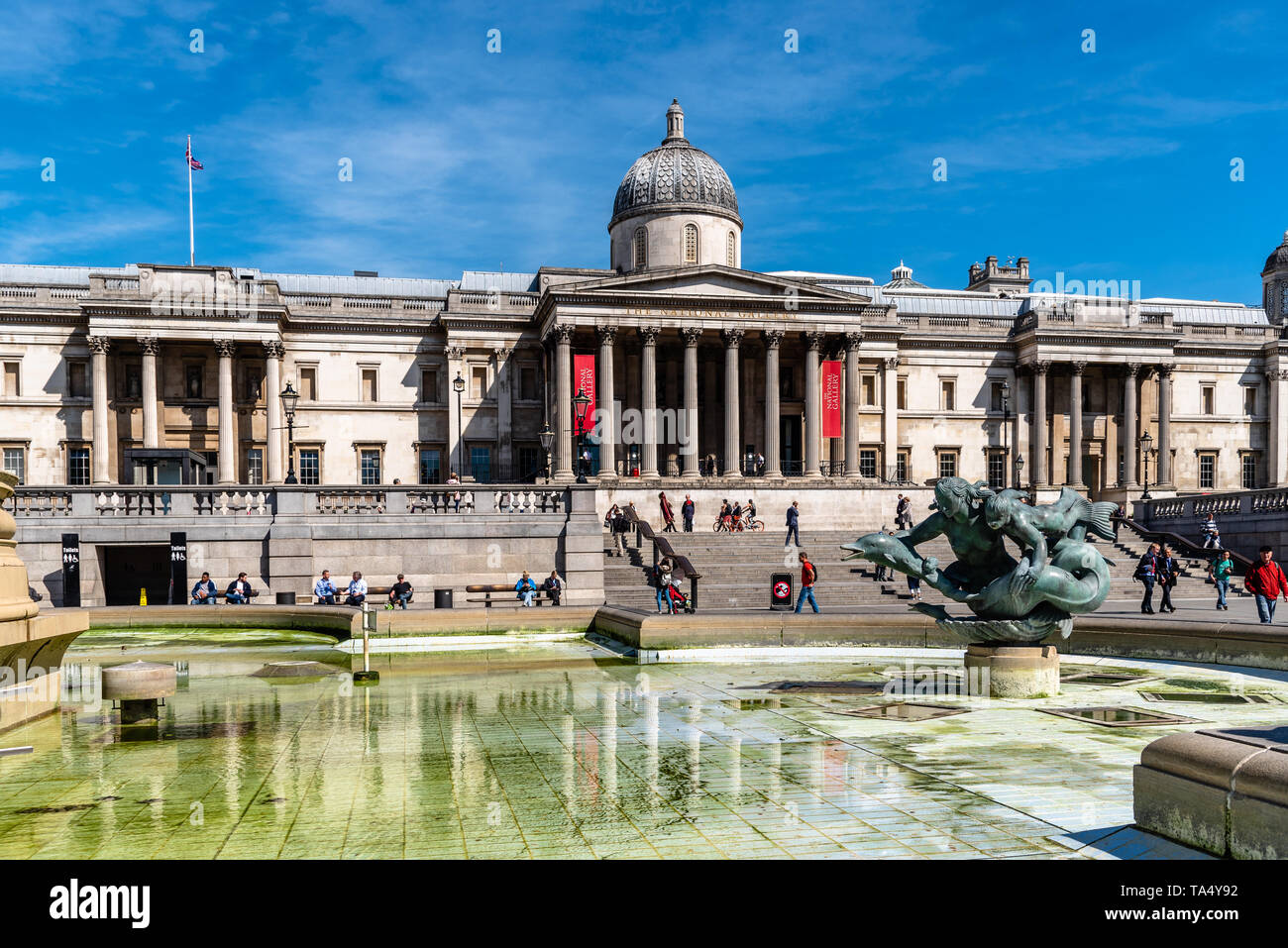 London, UK - May 14, 2019: The National Gallery of London in Trafalgar Square against blue sky a sunny day Stock Photo
