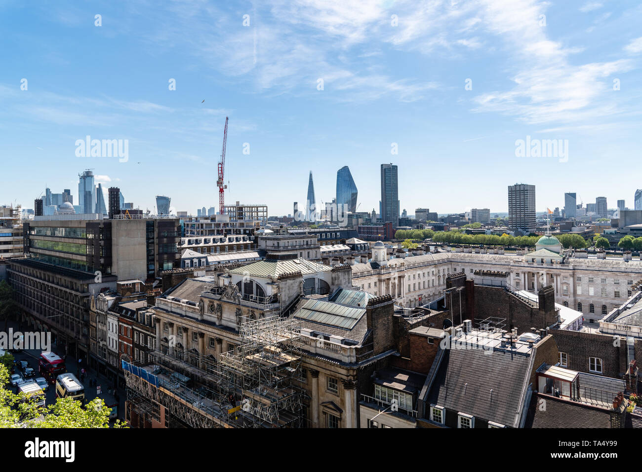 London, UK - May 14, 2019: Cityscape of the City of London. High angle view a sunny day Stock Photo