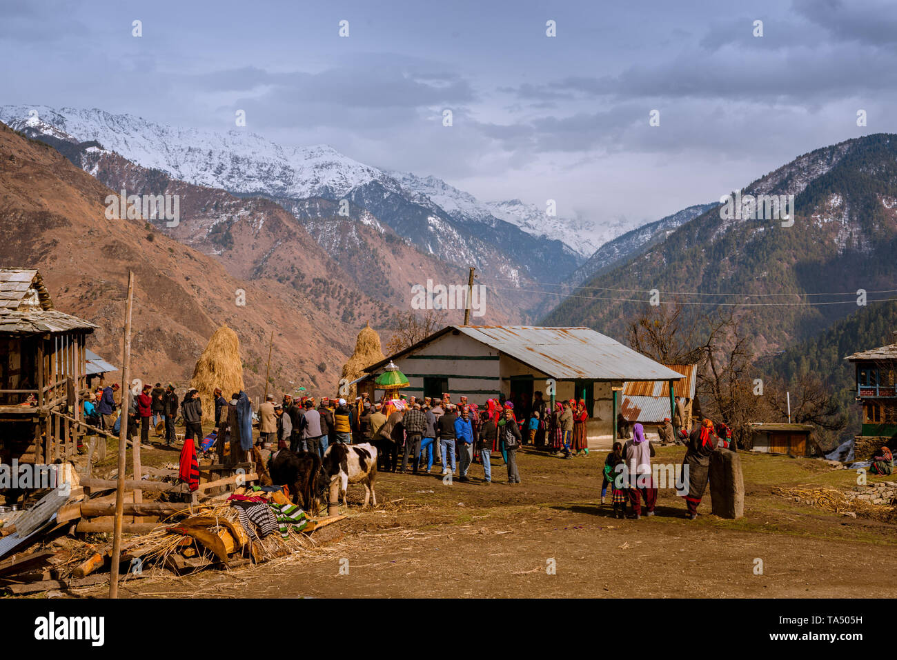 Kullu, Himachal Pradesh, India - February 13, 2018 : Local People doing worship local God Devta in Himalayas - - Stock Image