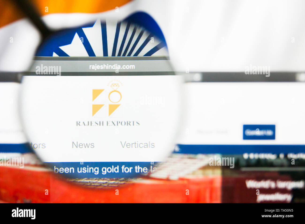 New York, New York State, USA - 21 May 2019: Illustrative Editorial of indian company Rajesh Exports website homepage. Rajesh Exports logo visible on  - Stock Image