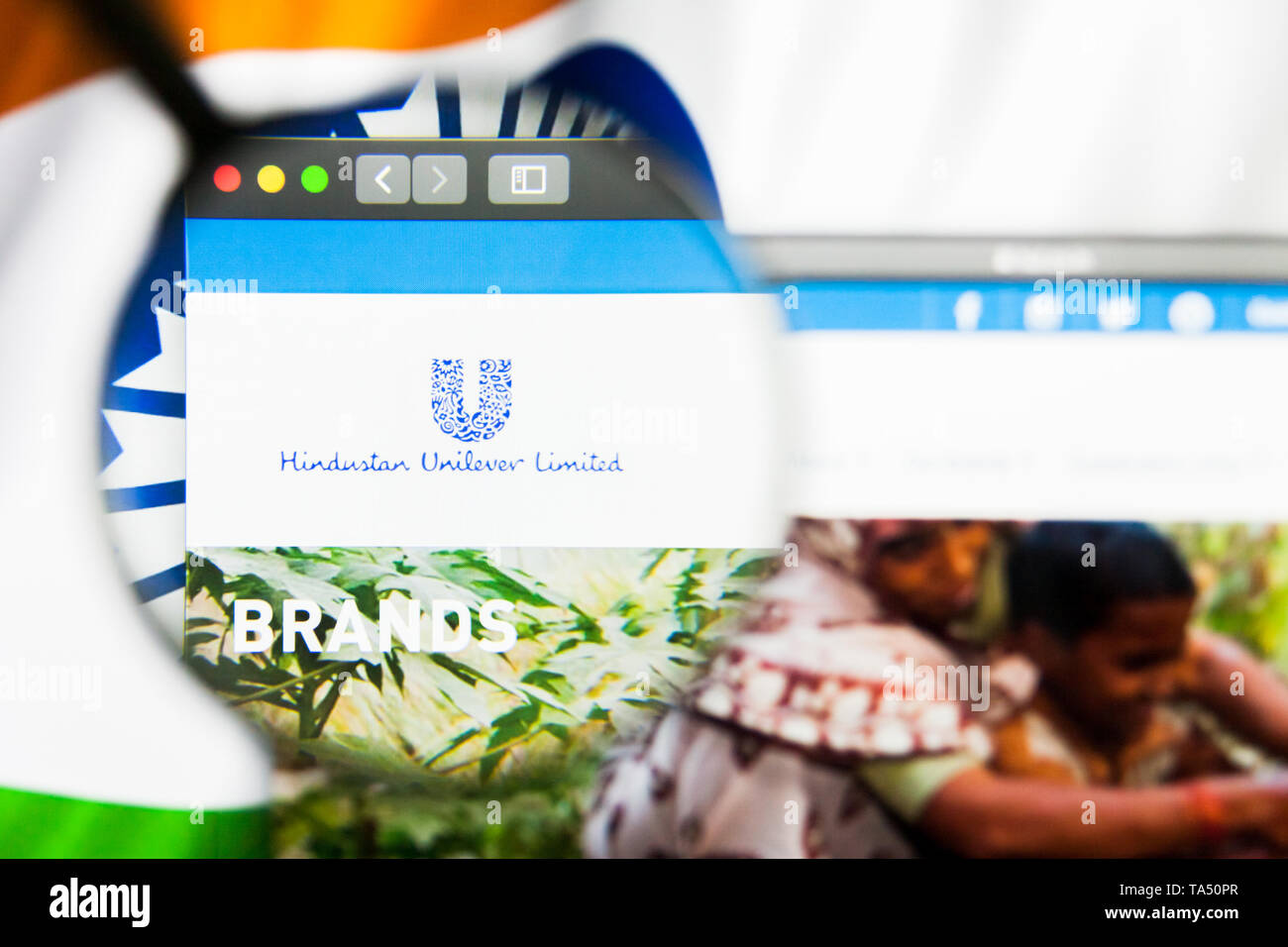 New York, New York State, USA - 21 May 2019: Illustrative Editorial of indian company Hindustan Unilever website homepage. Hindustan Unilever logo vis - Stock Image