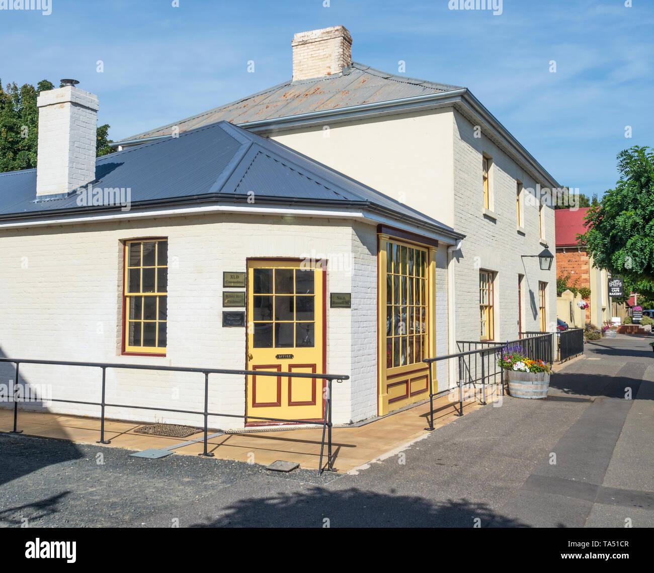 TASMANIA, AUSTRALIA - MARCH 4, 2019: Old buildings in Russell Street, in the historic town of Evandale in Tasmania, Australia Stock Photo