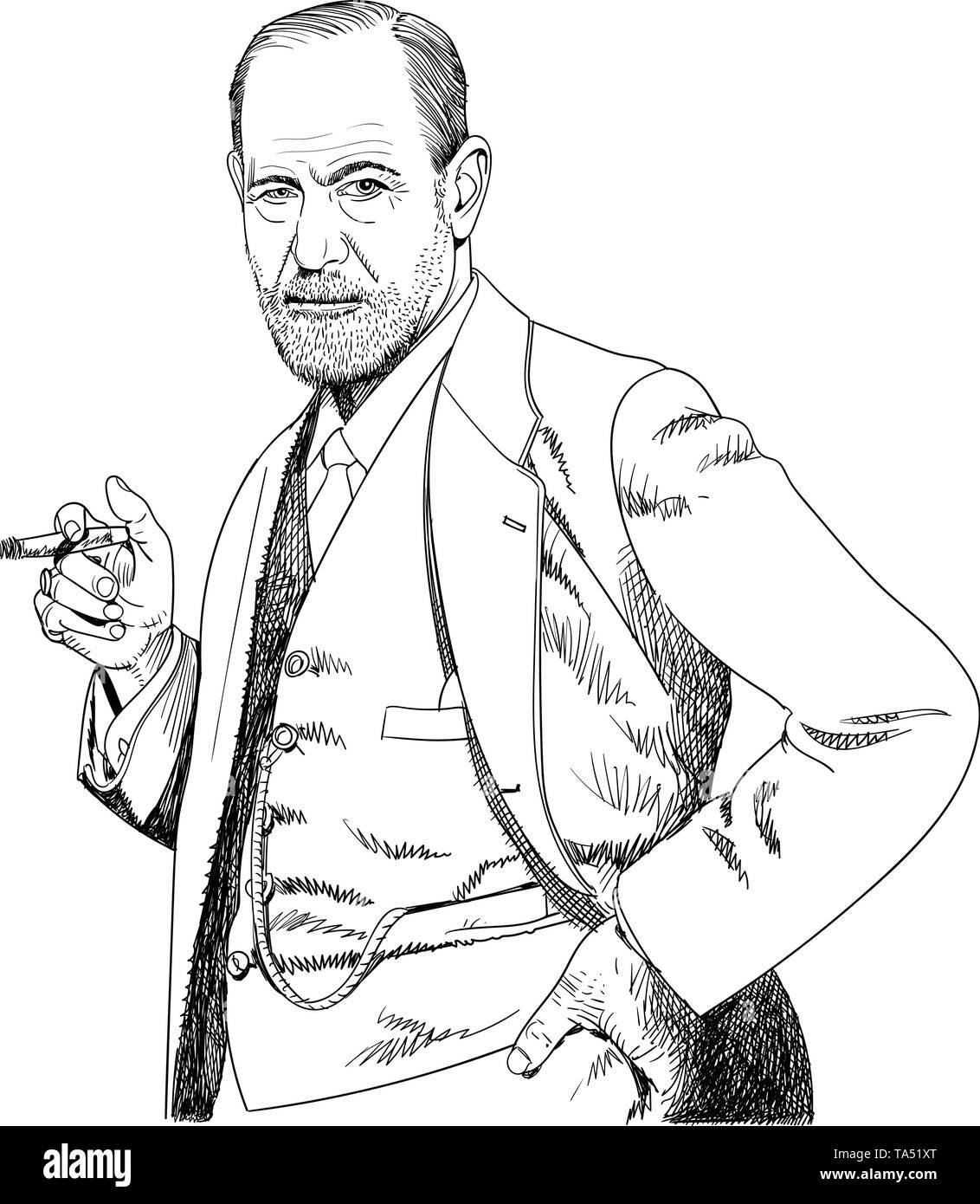 Dr. Sigmund Freud, line art portrait, vector - Stock Image