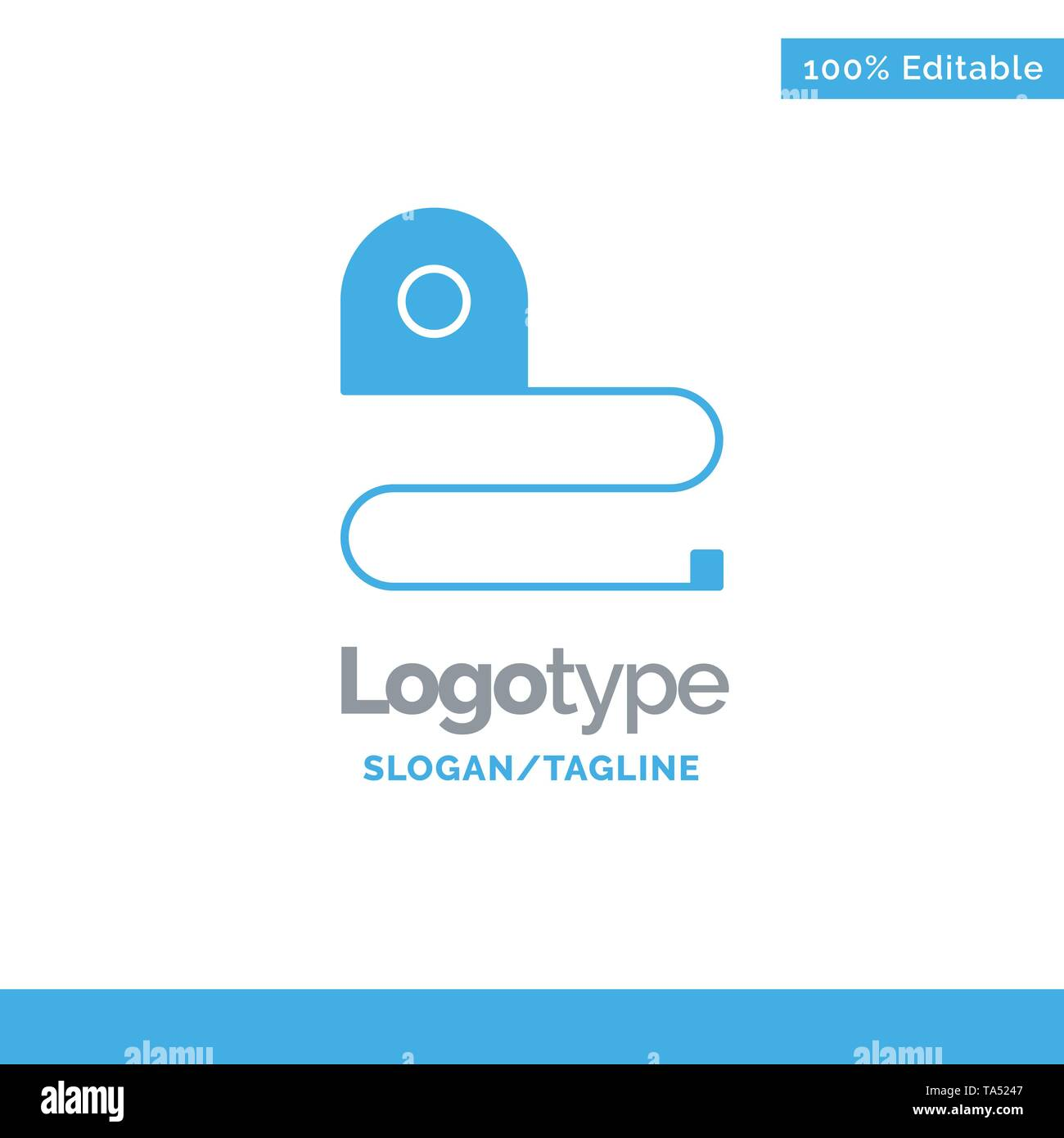 Construction, Measuring, Scale, Tape Blue Solid Logo Template. Place for Tagline - Stock Image