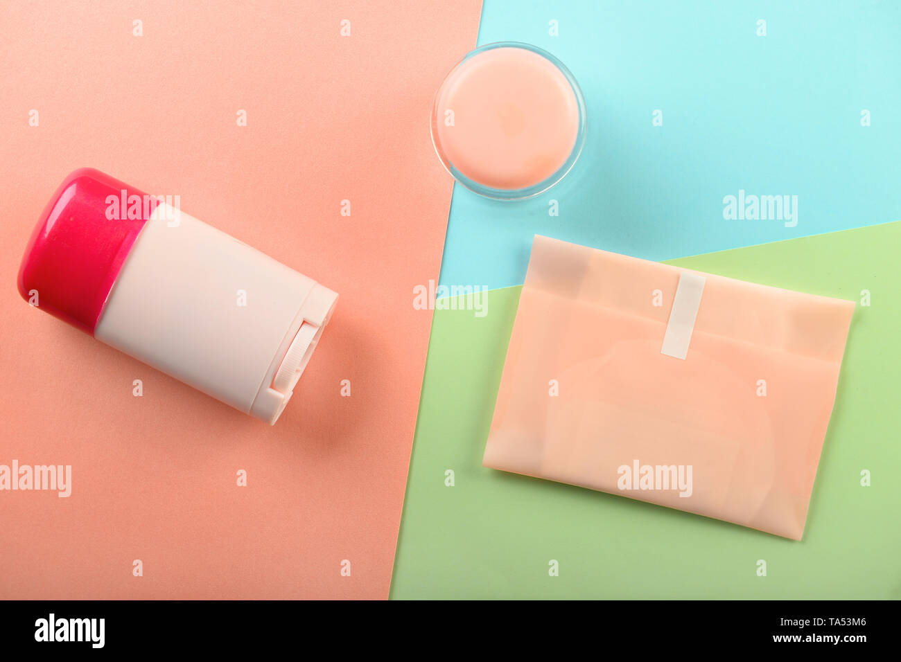 Items for personal hygiene on color background - Stock Image