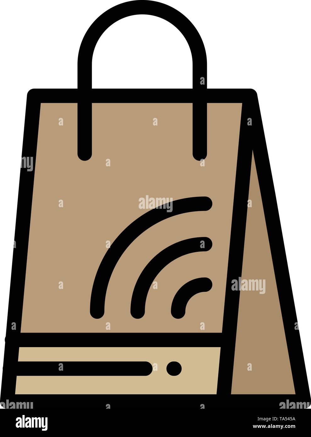 Bag, Handbag, Wifi, Shopping  Flat Color Icon. Vector icon banner Template - Stock Image