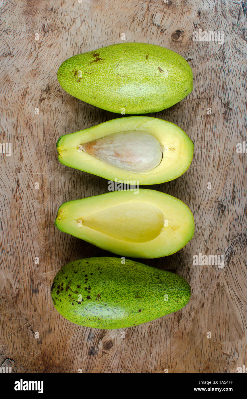 Delicious non commercial variety of avocados - Stock Image