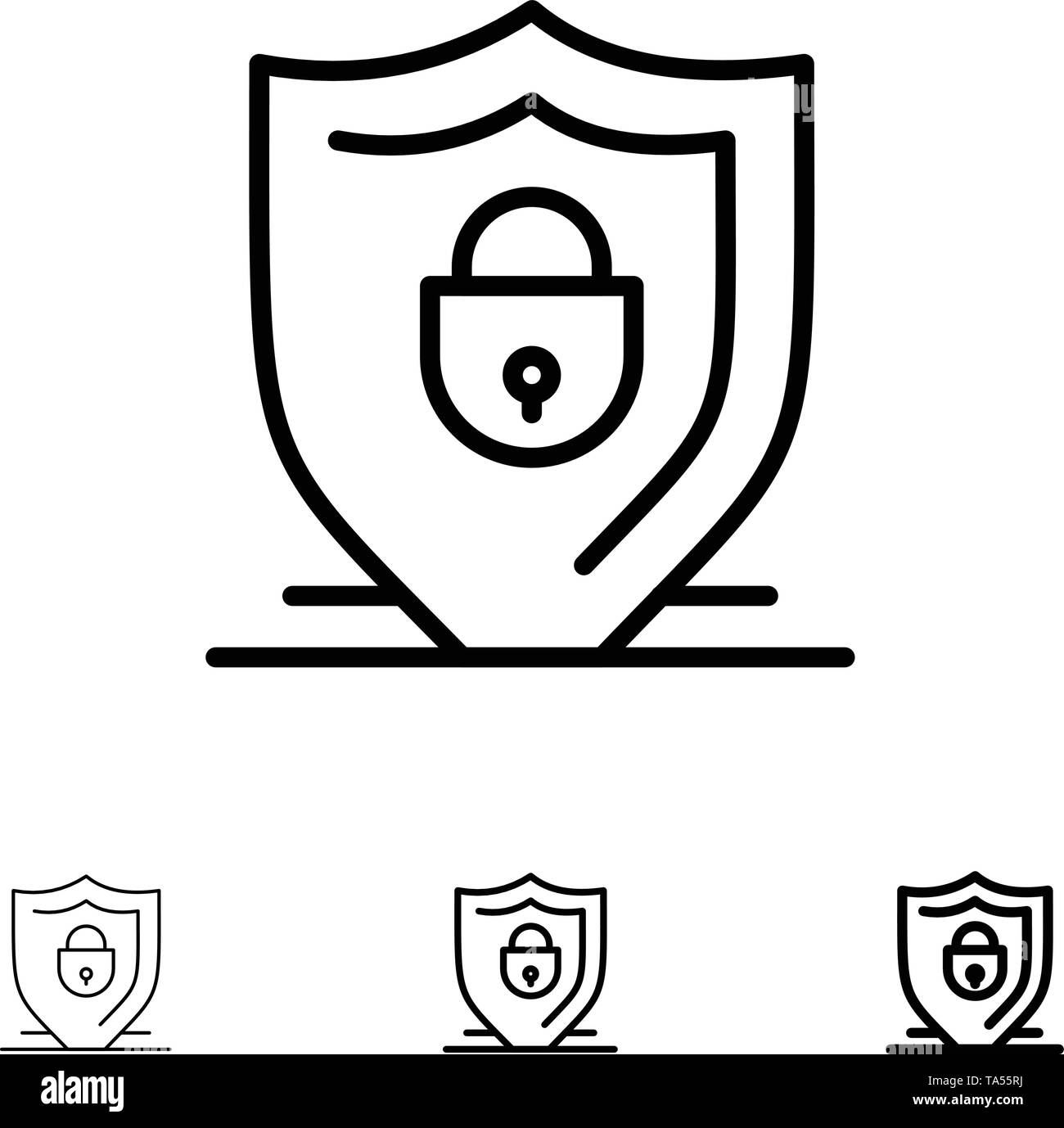 Internet, Shield, Lock, Security Bold and thin black line icon set - Stock Image