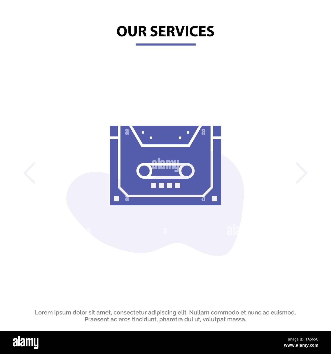 Our Services Analog, Audio, Cassette, Compact, Deck Solid Glyph Icon Web card Template - Stock Image