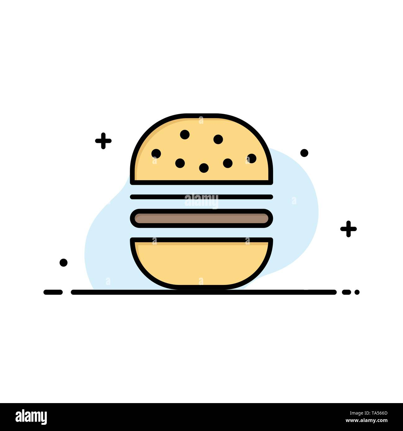 Burger, Fast food, Fast, Food Business Logo Template. Flat Color - Stock Image