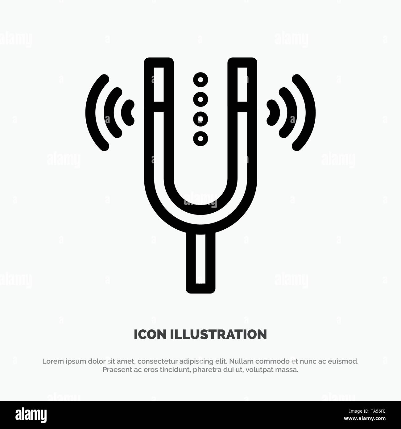 Concert, Fork, Cameron, Pitch, Reference Line Icon Vector - Stock Image