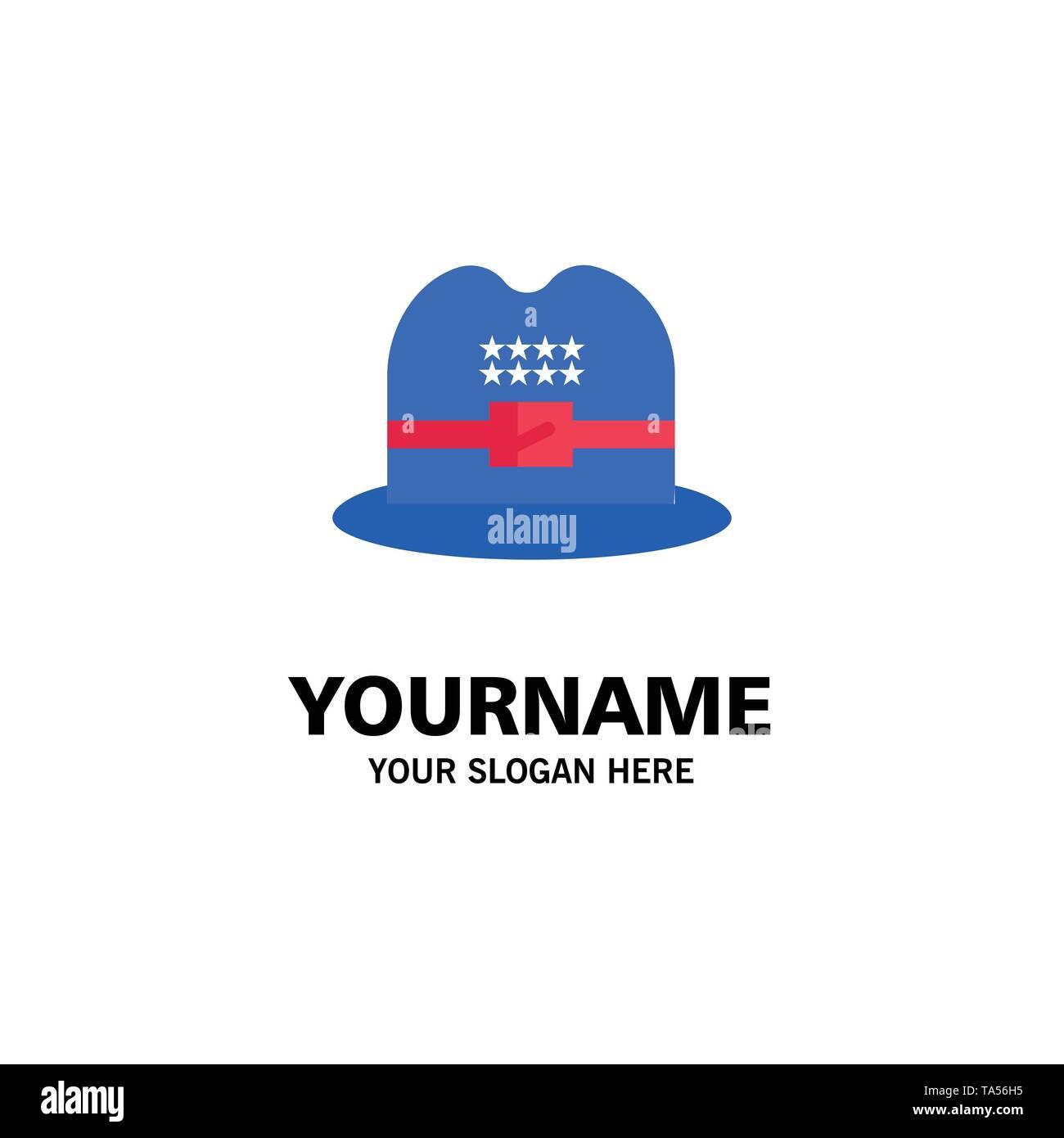 Hat, Cap, American Business Logo Template. Flat Color - Stock Image