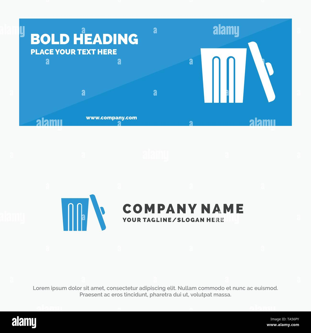 Ecology, Environment, Garbage, Trash SOlid Icon Website Banner and Business Logo Template - Stock Image