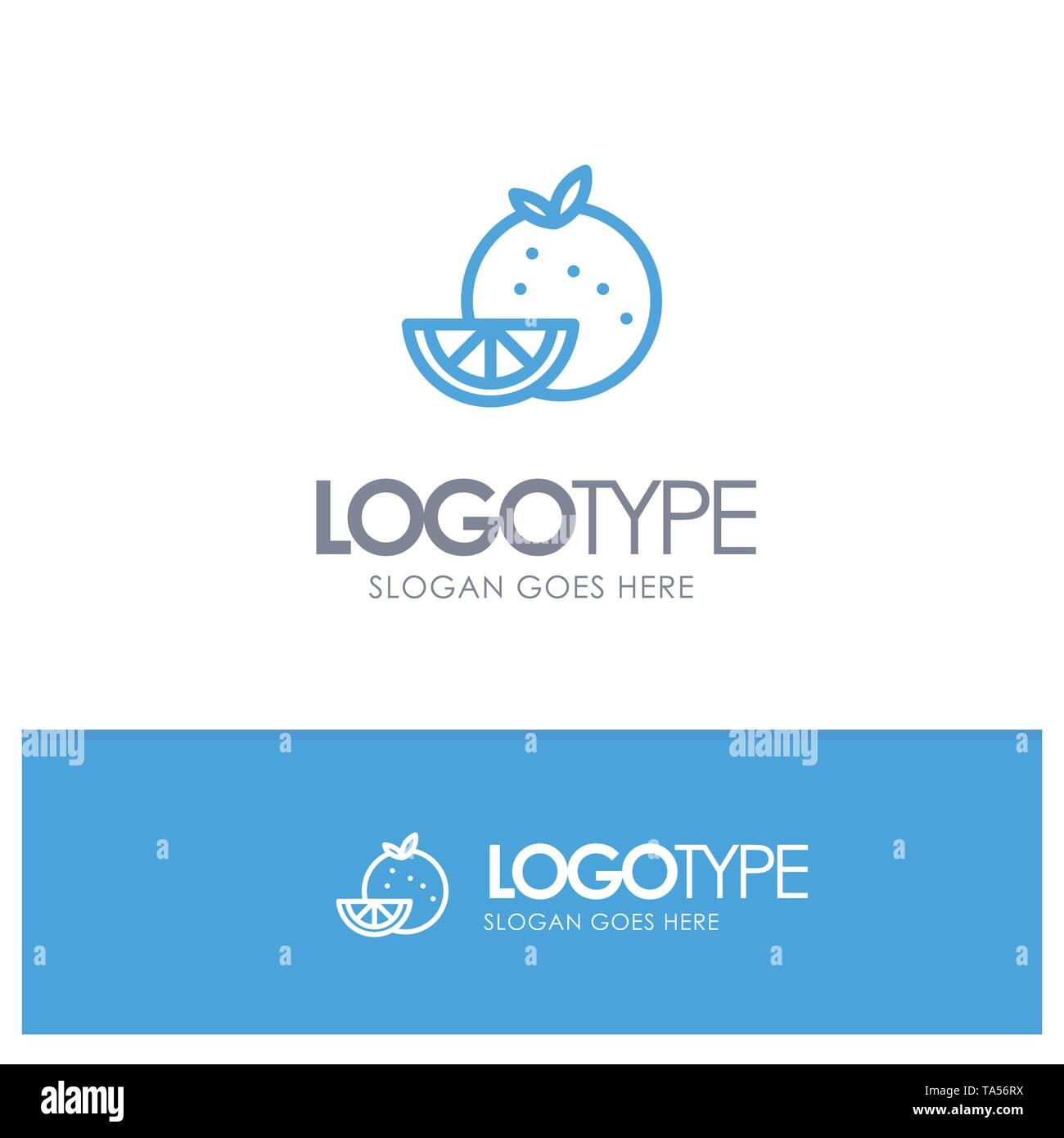 Orange, Food, Fruit, Madrigal Blue Outline Logo Place for Tagline - Stock Image