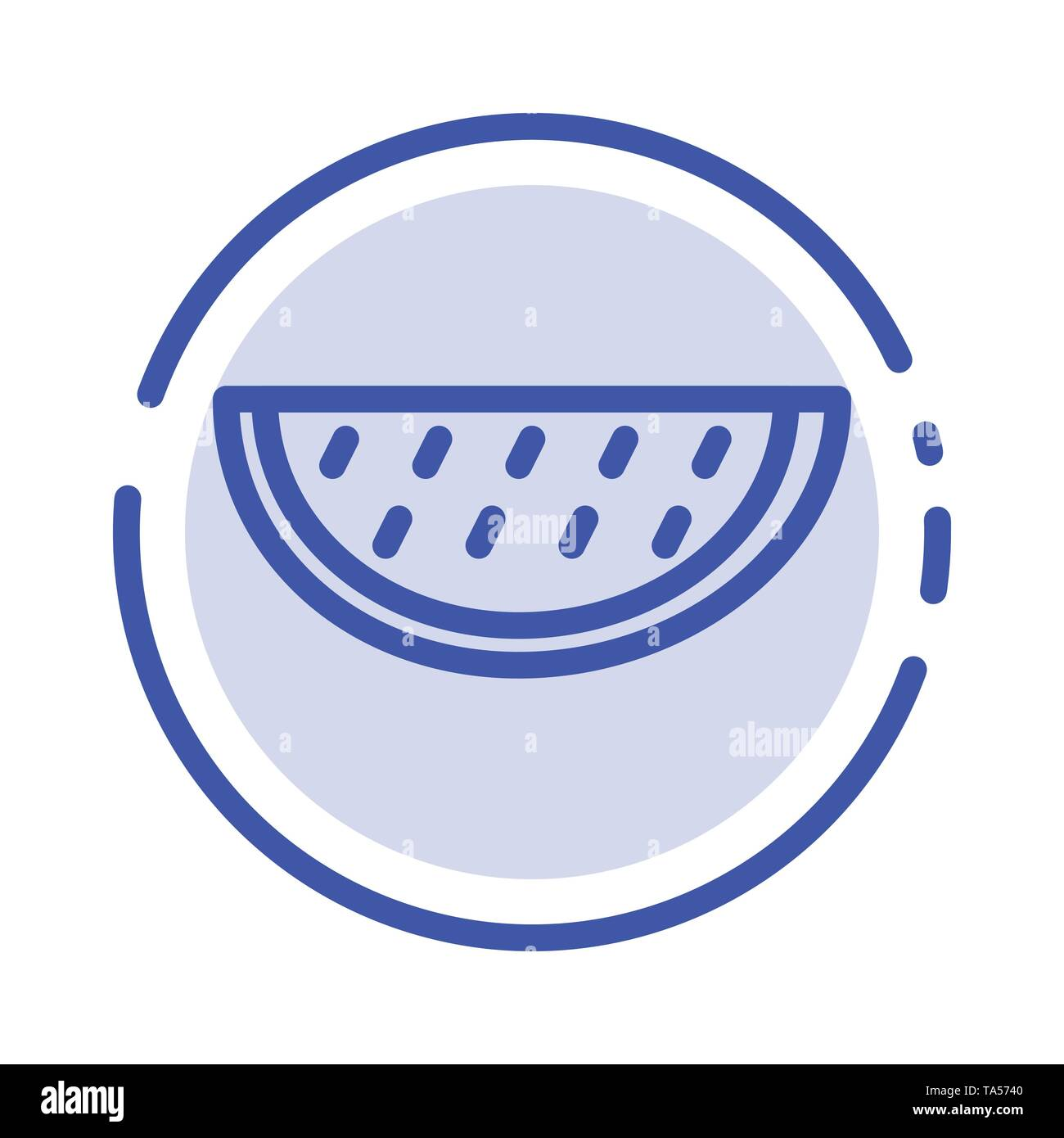 Fruits, Melon, Summer, Water Blue Dotted Line Line Icon - Stock Image