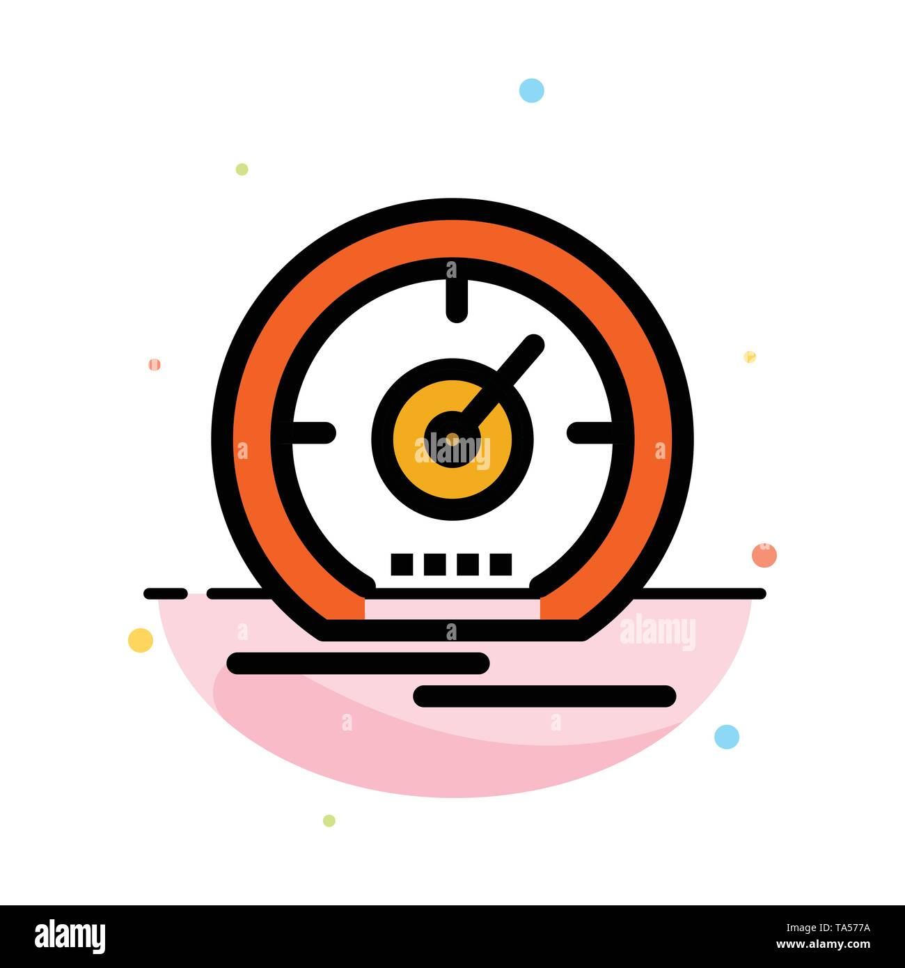 Gauge, Dashboard, Meter, Speed, Speedometer Abstract Flat Color Icon Template - Stock Image