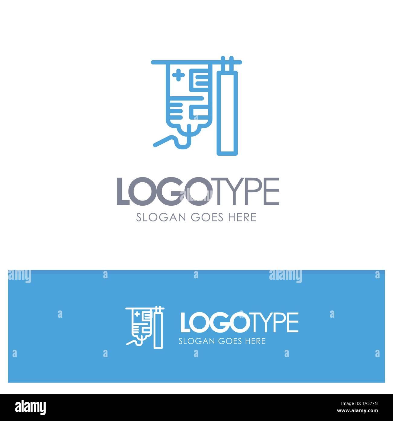 Drip, Hospital, Medical, Treatment Blue Logo Line Style - Stock Image