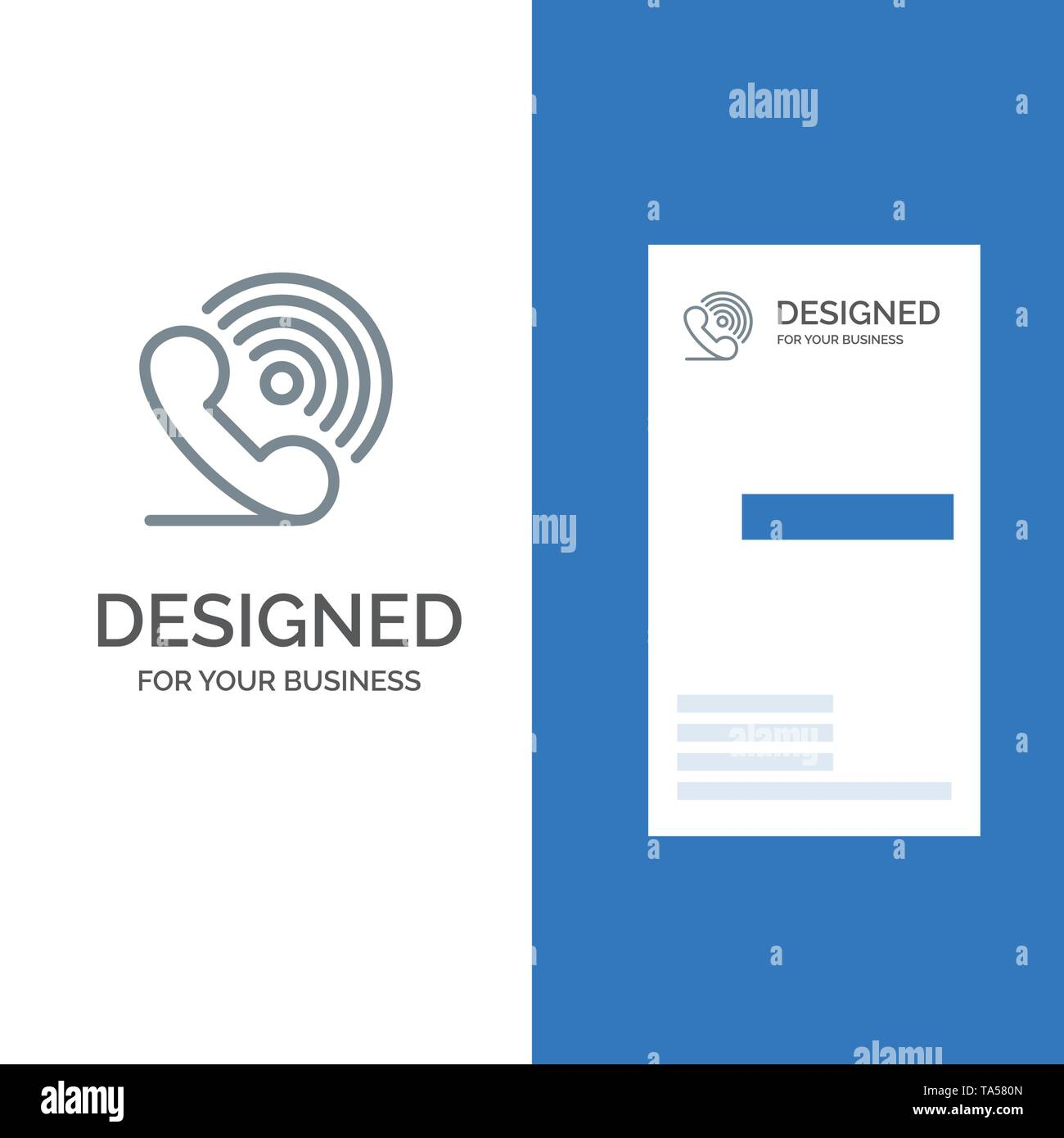 Call, Phone, Receiver, Ring, Signals Grey Logo Design and Business Card Template - Stock Image
